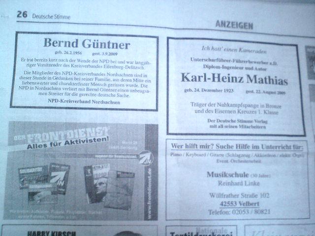 """Mit dieser Anzeige warb die Musikschule Linke aus Velbert im NPD-Hetzblatt \""""Deutsche Stimme\"""""""